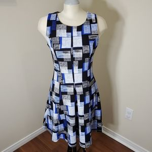 Dex Geometric Print A Line Dress/ Size M